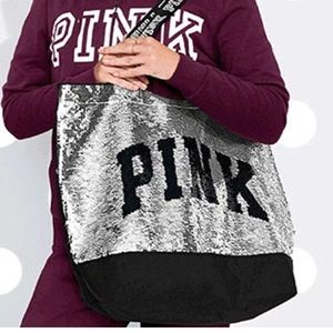 Victoria Secret Pink Bag  Tote Sequin Embellished